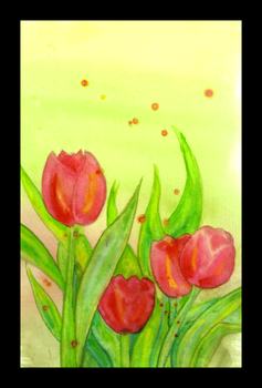 Watercolor Tulips by chibigiggles