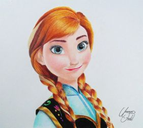 Anna From the movie Frozen -- Colored pencils by f-a-d-i-l