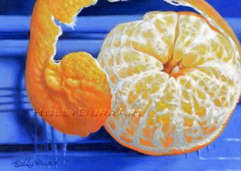 Orange on Blue Dish by hollydurr