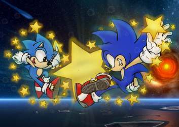 star studded sonics - coloring by blazecream18