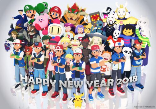 MMD Crossovers - Happy New Year 2018 by MMDSatoshi