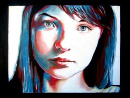 Red and Blue Girl by youngchristianartist