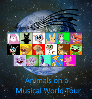 Animals on a Musical World Tour Poster by DEEcat98