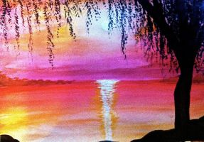 Willow Tree Sunset by Lambieb123