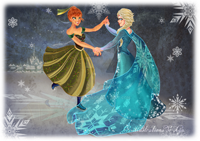 IceDance with Anna and Elsa by Linou1415