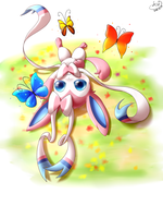 Sylveon with butterflies by bsh0404