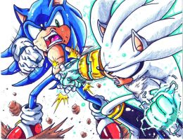 sonic vs silver colored by trunks24