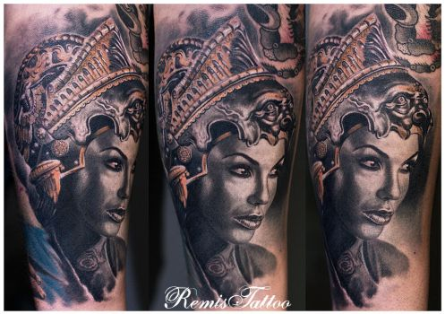 Realistic Girl Warrior Tattoo by Remistattoo