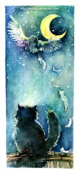 The owl and cat by wantou