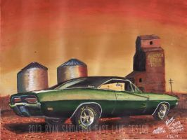 Golden Country (1969 Dodge Charger Painting) by FastLaneIllustration