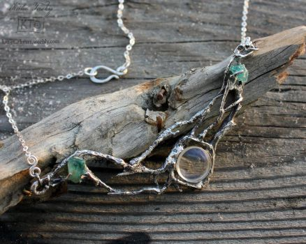 Looking Glass-Silver Branches with glass + apatite by bug-in-my-eye