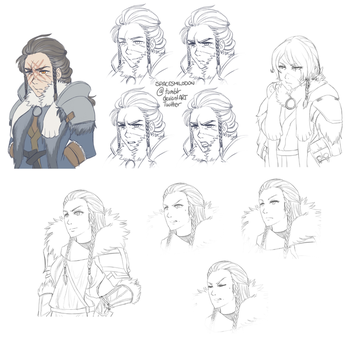 Sigfrid and Hjordis Portrait Sketches by SpaceSmilodon
