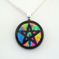 Rainbow Mix Pentacle Fused Dichroic Glass Pendant by HoneyCatJewelry
