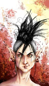 Daisuke in a Mohawk..colored by yourTOESareMISSING