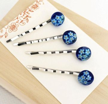 Hairpins with hand painted. Flowers forget-me-nots by HappyGlassJewelryArt