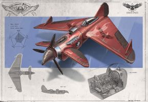 Redesign: Crimson Skies (Dragster medium fighter) by martydesign