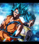 Goku and Vegeta / Super Saiyan God by slavo19