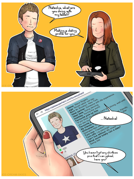 Natasha Romanoff's Dating Agency (Poor Steve!) by ice-cream-skies