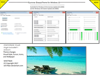 Summer Breeze Theme for Windows 10 by WIN7TBAR