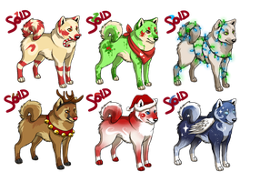 Shiba Inu Christmas pack adoptables -CLOSED- by Kiibie