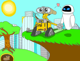 WALL-E and EVE: 500 Years by maniacaldude