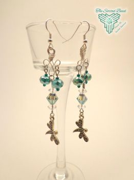 Teal Crystal and Dragonfly Earrings by TheSortedBead