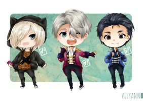 Yuri!!! On Ice chibi by Vilyann