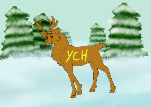 YCH cute deer white forest OPEN by lupalapa