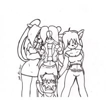 Leo's Girls- lineart by Catboy-Trades