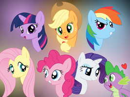 Mane Six with Spike by silberhase