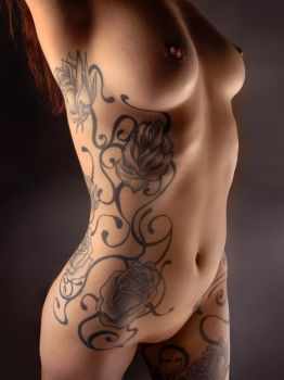 3716 Black Rose Tattoo on Beautiful Nude Woman by artonline