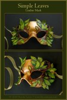 Simple Leaves - Leather Mask by windfalcon