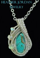 Wire-wrapped Gem Silica Crysocolla Pendant In Ster by HeatherJordanJewelry