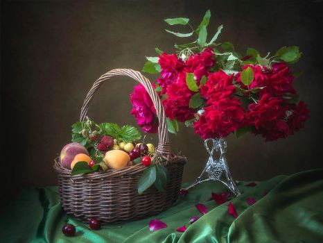 Still life with fruits and red roses by Daykiney