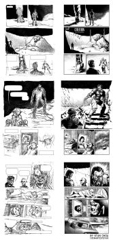 Creation Comic - Sketch Layouts and Finished Art by ryuzo