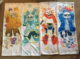 Sans and Papyrus Body Pillows by Poetax