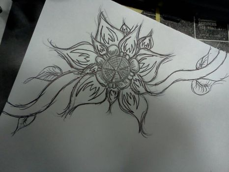 Corner flower. Drawn, then retraced. by The-Naked-Smurf