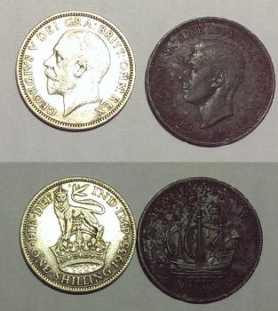 metal detect find (1 shilling 1935+1/2 penny 1938) by spoonicuss
