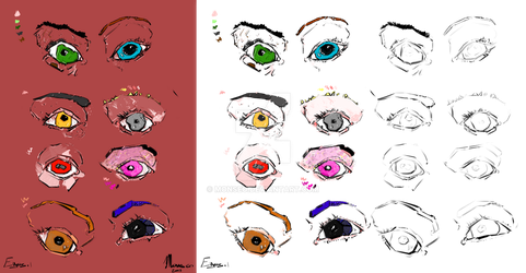Enchanted Eyes : Starter and Colored Versions by Monseo