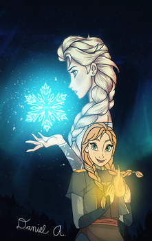 Elsa and Anna: Fire and Ice by DeeFlow21