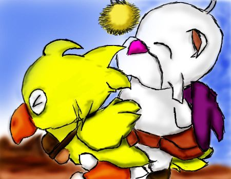 Mog rides Chocobo by Silly-JuiceBox