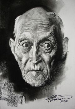 Portrait of an Old Man (charcoal-paper) by AdrianMoraru