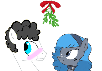 Showstopper and Bucky under the Mistletoe by lawleyj77