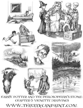 Harry Potter: Book 1 Chapter 6 Vignette Drawings by TheGeekCanPaint