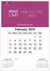 2019 February Wall Calendar Template Free Vector by 123freevectors