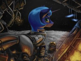 Luna on the moon by Chickhawk96