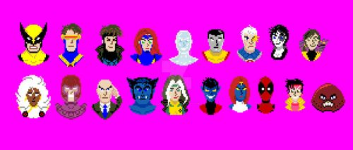 X-men Pixel Art Portraits (and Deadpool :P) by DanRussell93