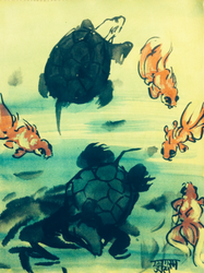 Turtles and Goldfish, sumi ink and watercolor, '16 by EkashmaDas