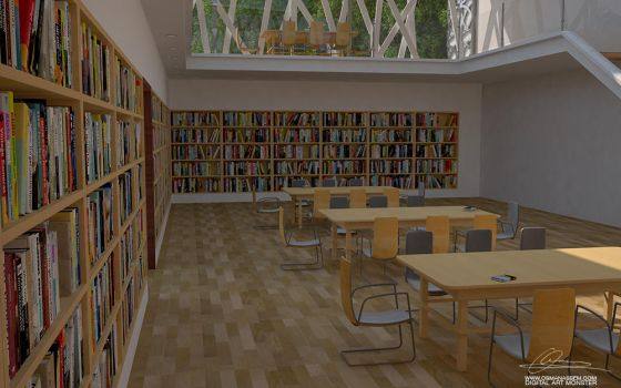 3D  Library Interior Close Scene by osmanassem