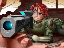 Redhead girl Sniper Warrior by jerry04